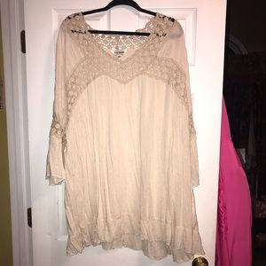 Tan Tunic with Knit and Thread Detailing